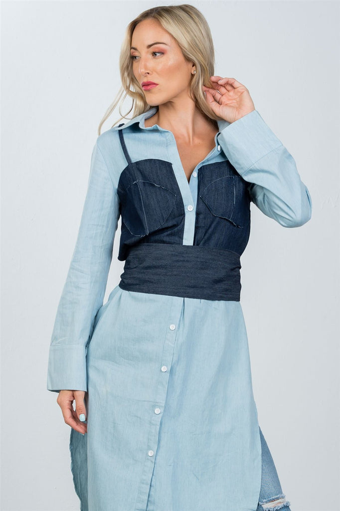 Ladies fashion denim button down bleach-dye corset shirt
