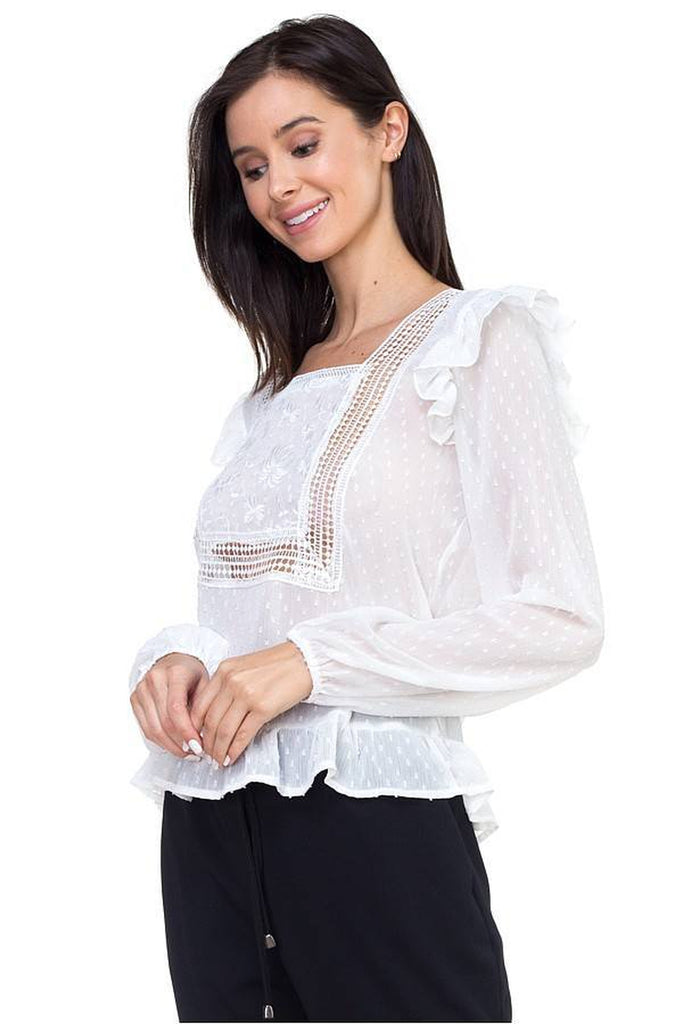 Lace trim swiss dot shirt in white