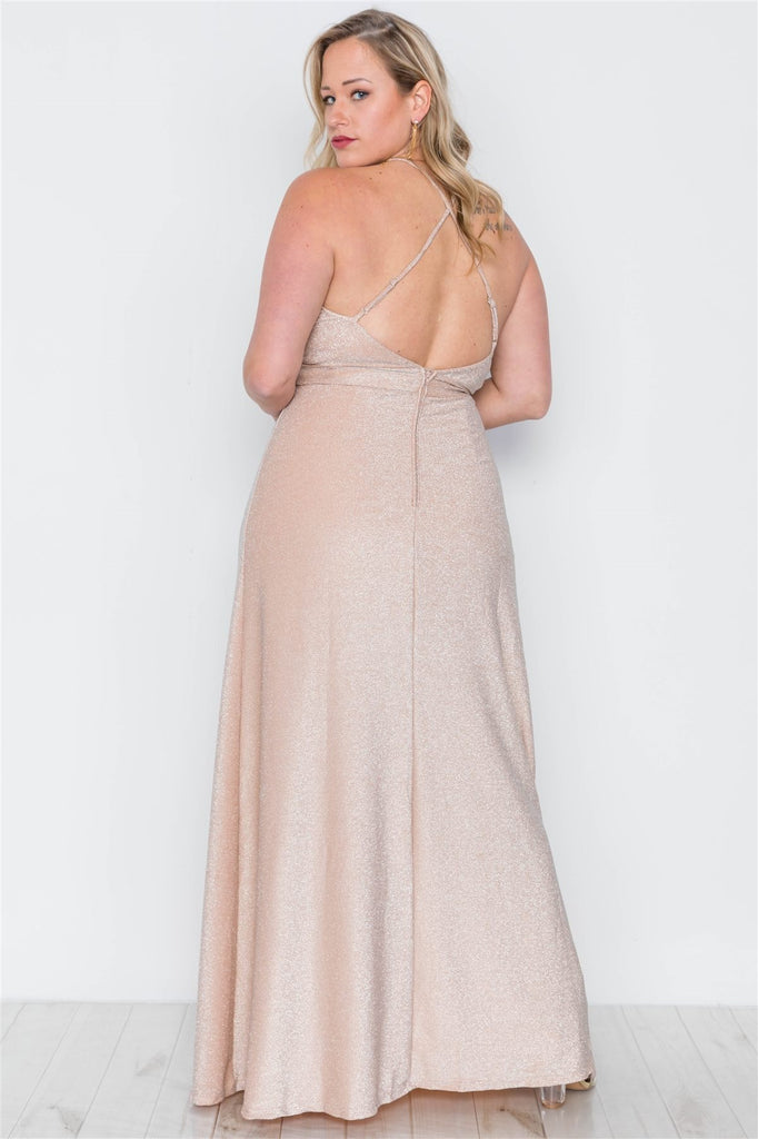 Front Slits Cami Evening Maxi Dress in beige