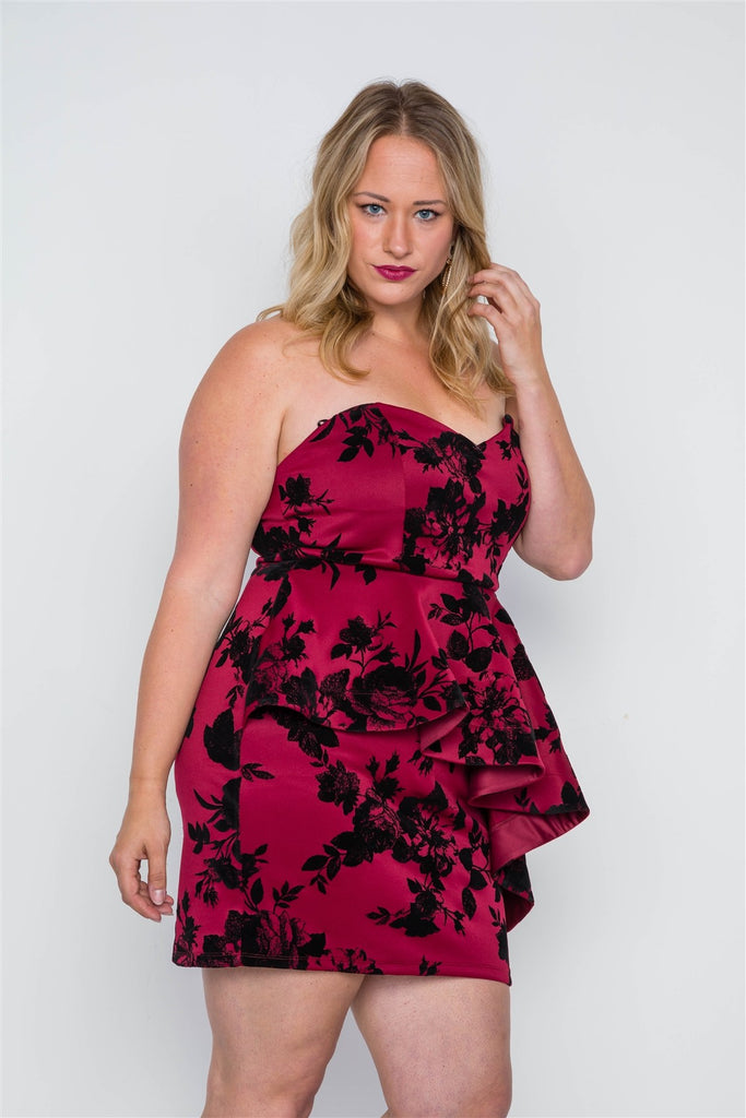 Strapless Floral Sweetheart Mini Dress in red