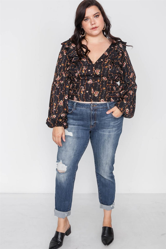 Floral V-neck top with ruffled sleeves-Primetime Looks