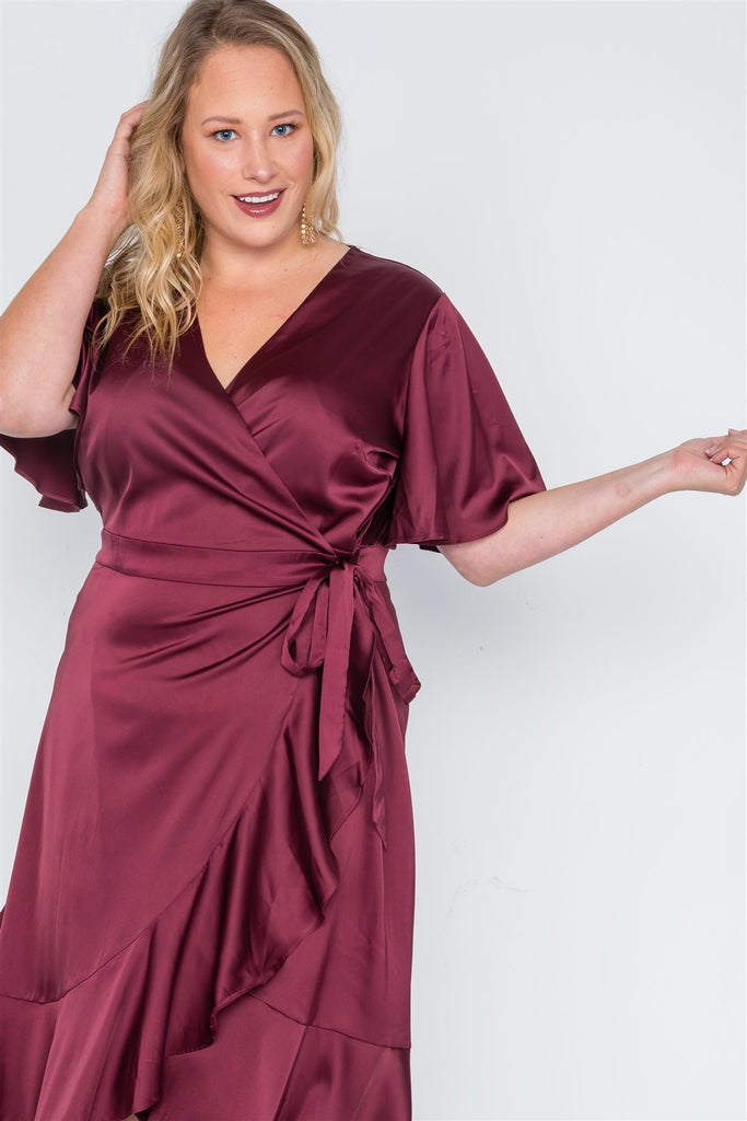 Plus Size Satin Flounce Dress in burgundy red