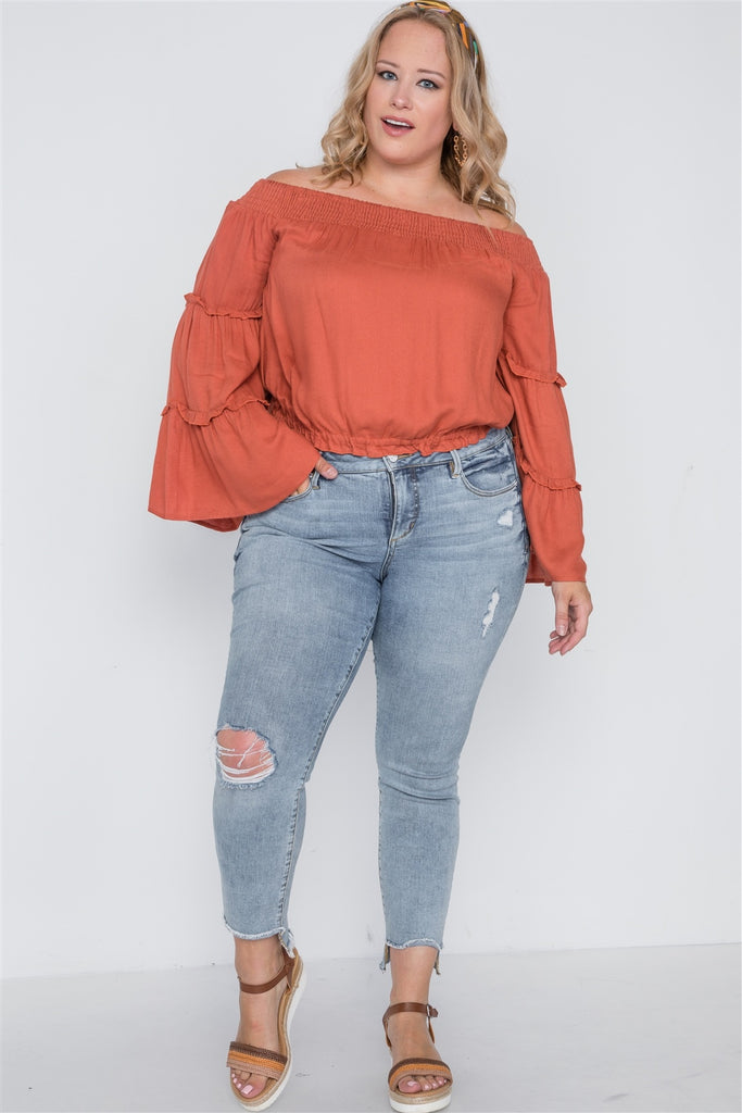 Off-the-shoulders bell sleeve top in terracotta-Primetime Looks
