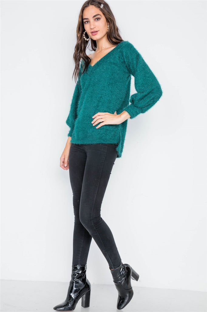 Teal Fuzzy Long Sleeve V-neck sweater