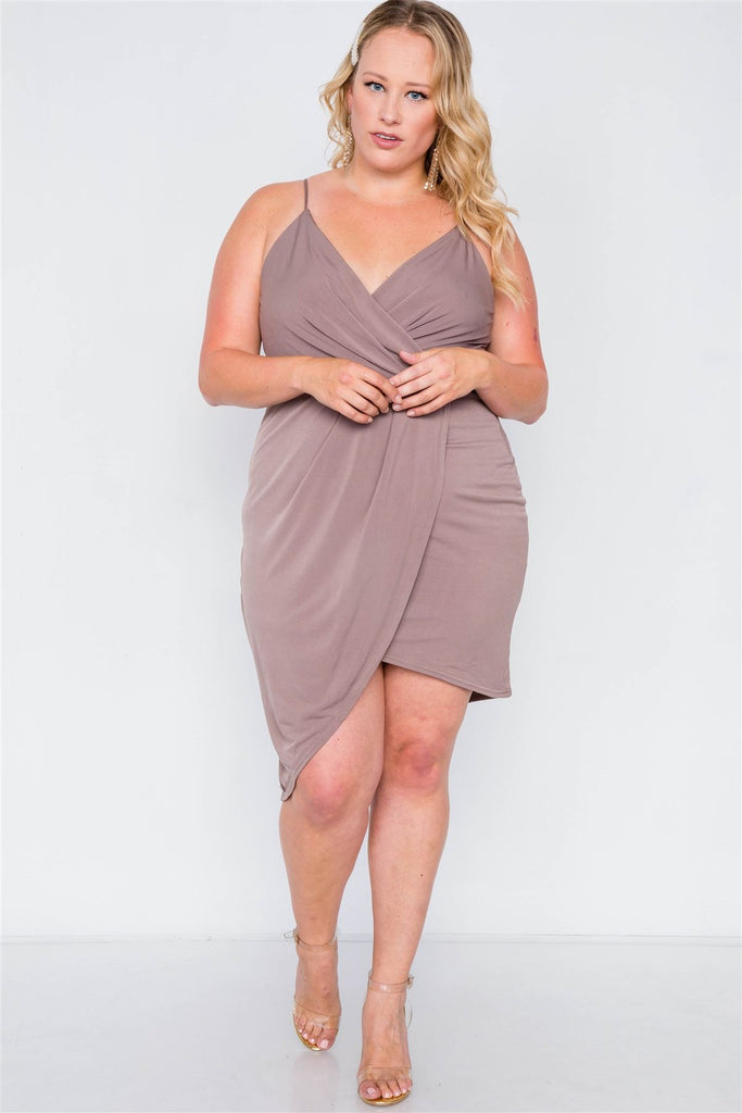 Mocha Tulip-hem Evening Dress-Primetime Looks