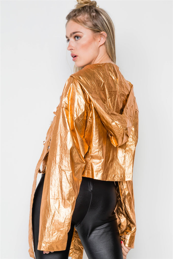 Cropped Lightweight Long Sleeve Jacket in bronze