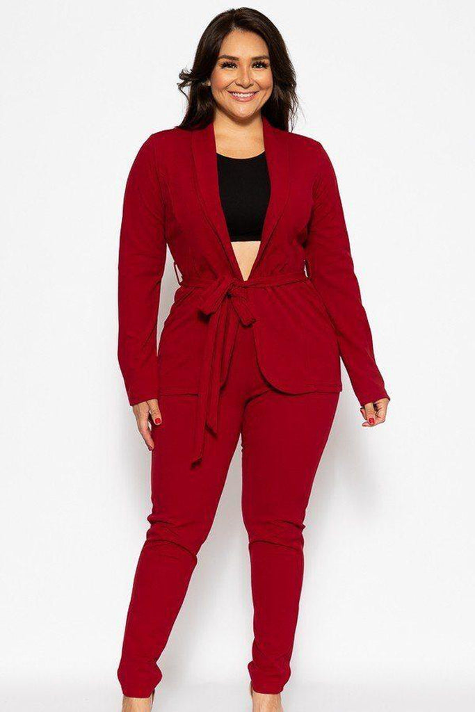 Classic pantsuit in burgundy red-Primetime Looks