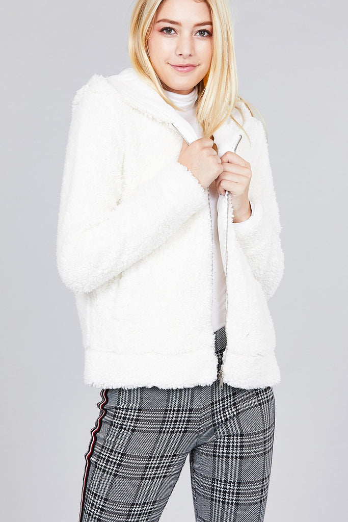 Hooded Side Pocket Faux Fur Zip-up Jacket