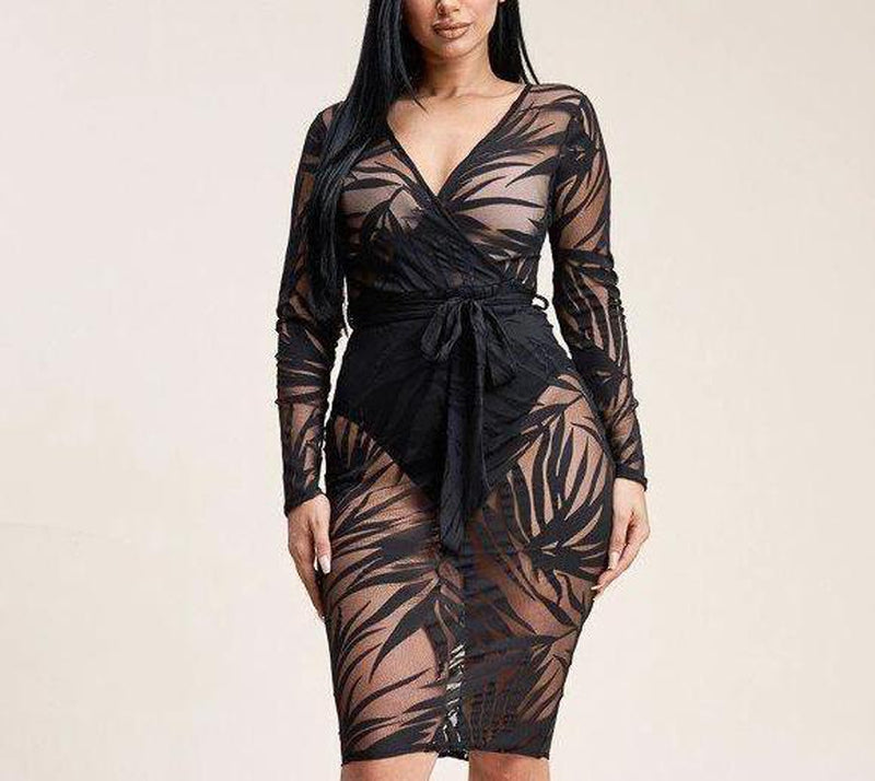 Laila Cross Over Burnout Mesh Midi Dress-Primetime Looks