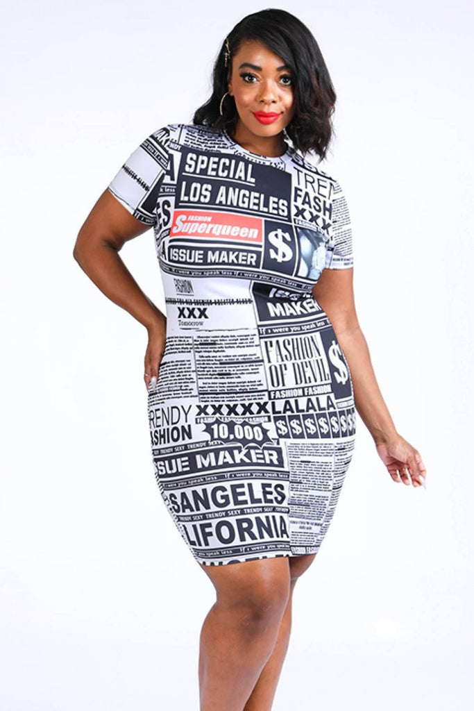 Newspaper midi Dress-Primetime Looks