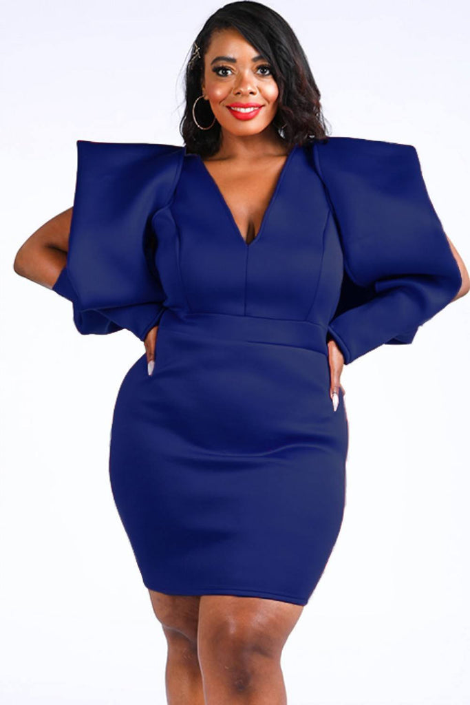 Jordana curvy super buff shoulders midi dress