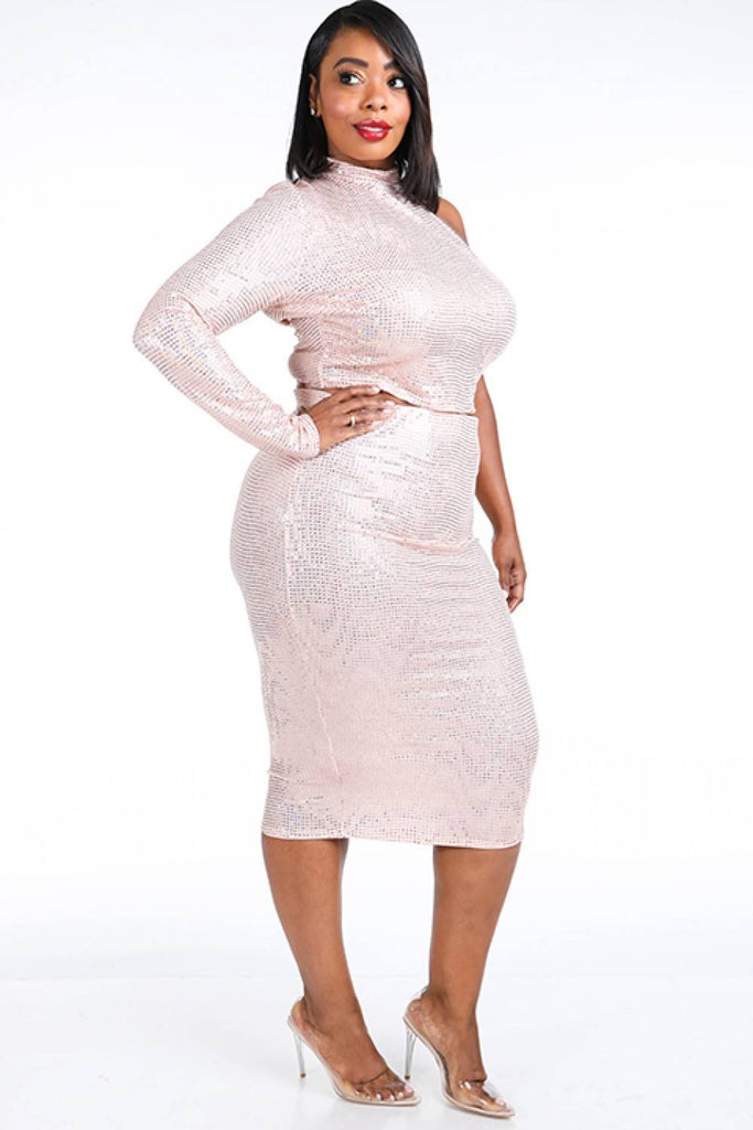 Ivory pink sequinned skirt set