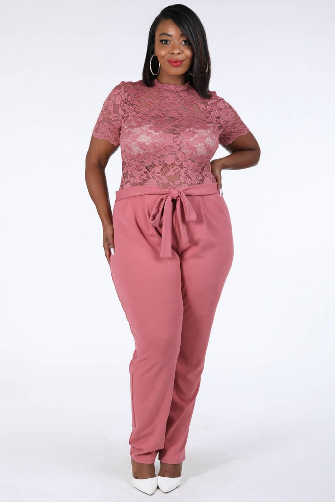 Lace Contrast Jumpsuit in pink