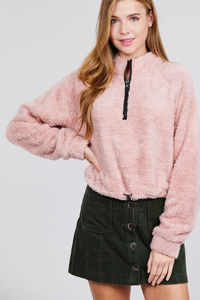 Plush pink sweater with zipper