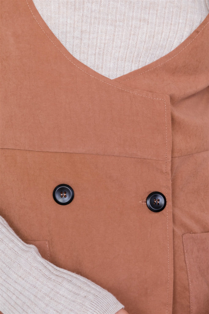 Mocha Vintage Suede Front Button Office Chic Mini Dress