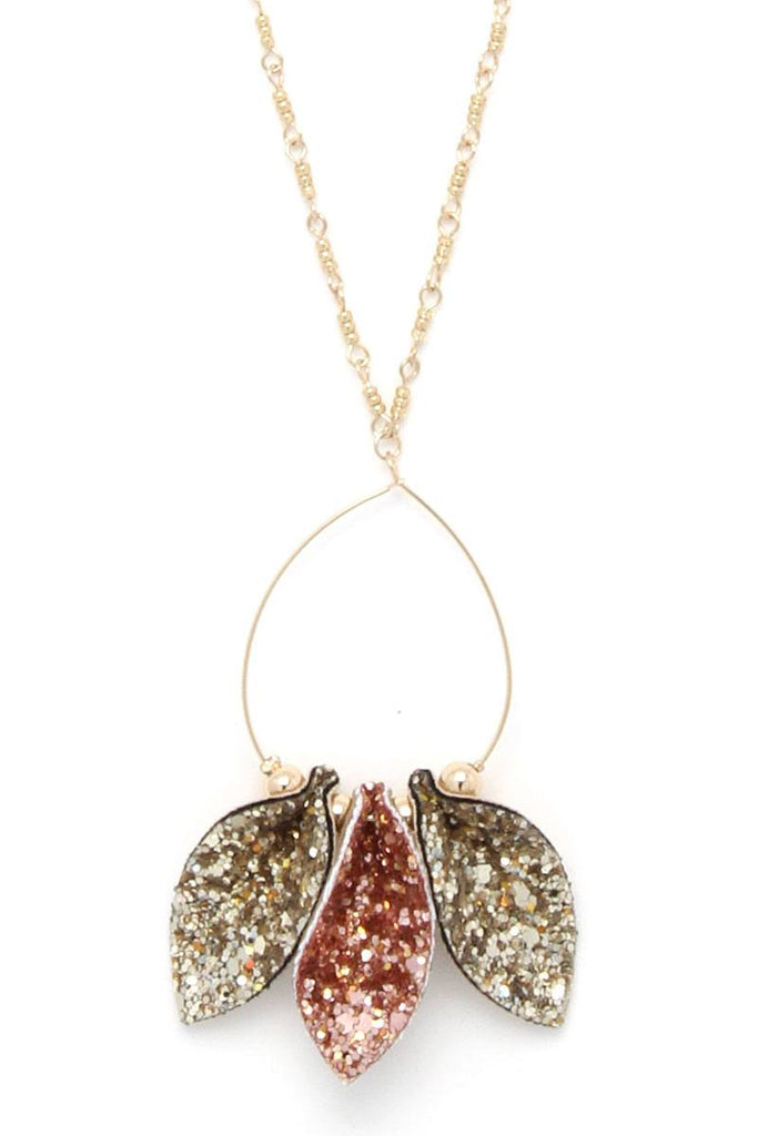 Glitter Teardrop Shape Pendant Necklace