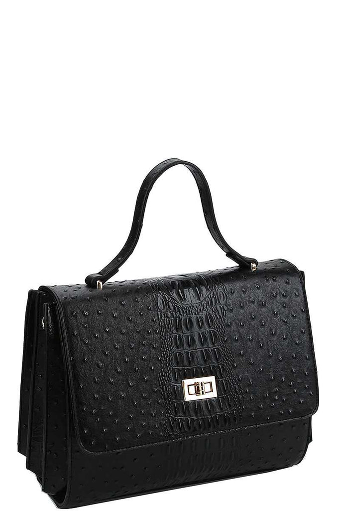 Modern Fashion Croco Pattern Satchel With Long Strap