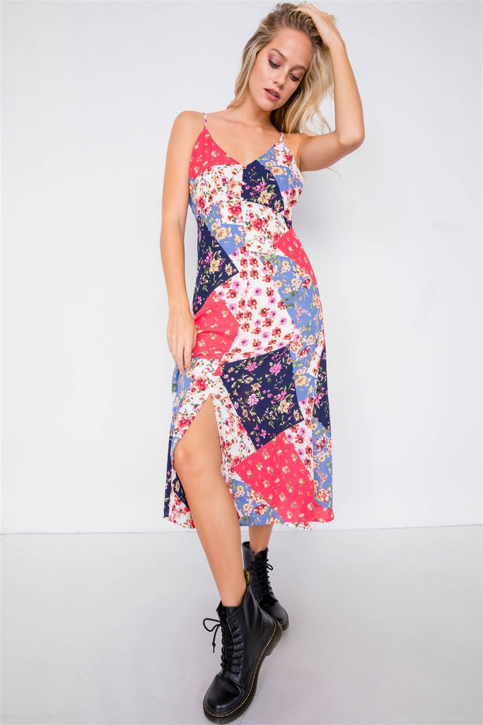 Multi Floral Center Slit V-neck Sun Midi Dress