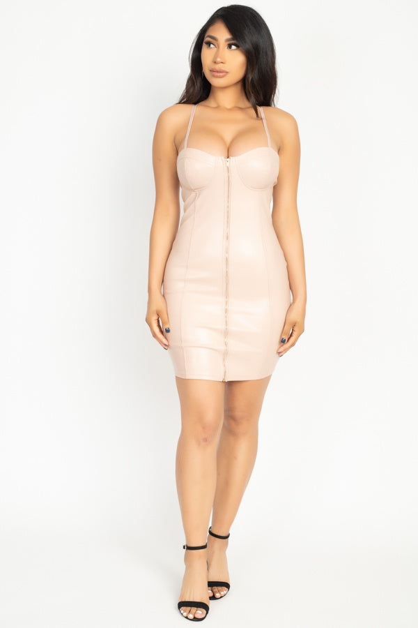 Front Zip Dress in Ivory