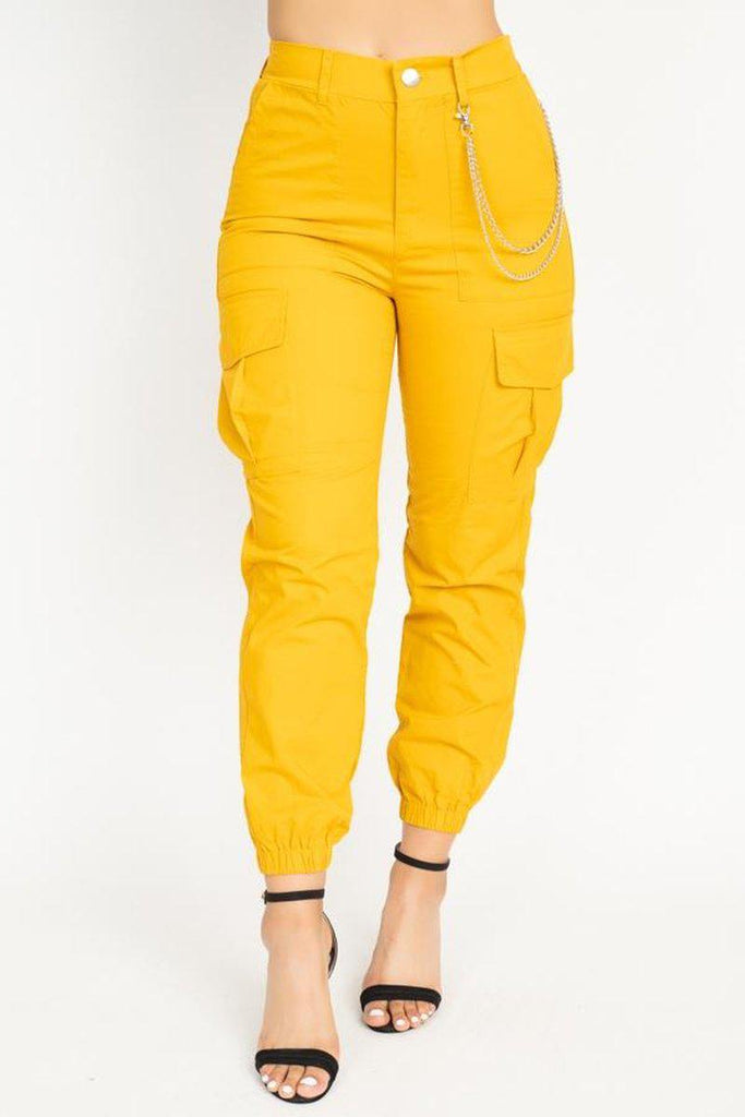 Yellow Twill Jogger Pants