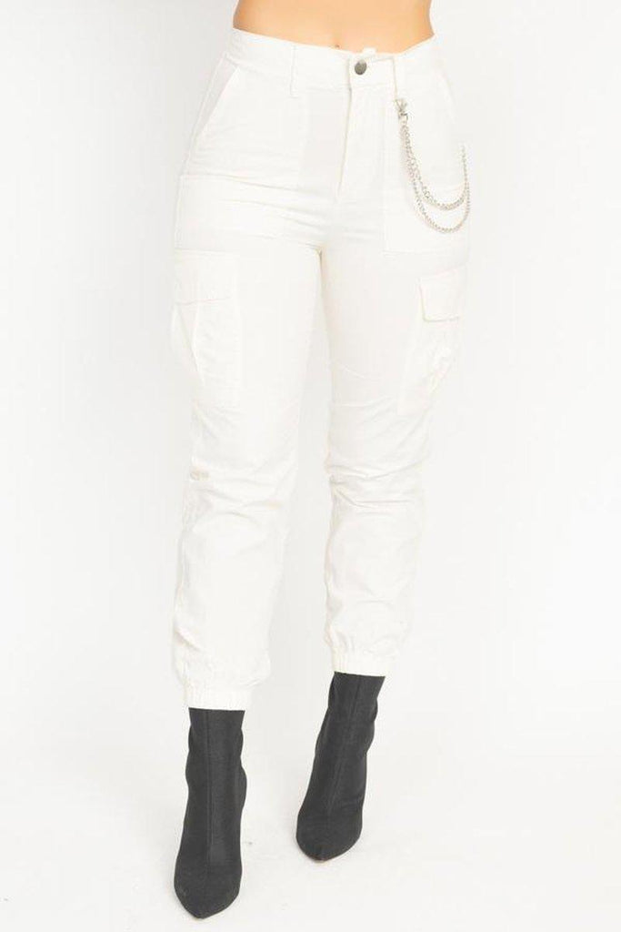 Chain Twill Jogger Pants in white