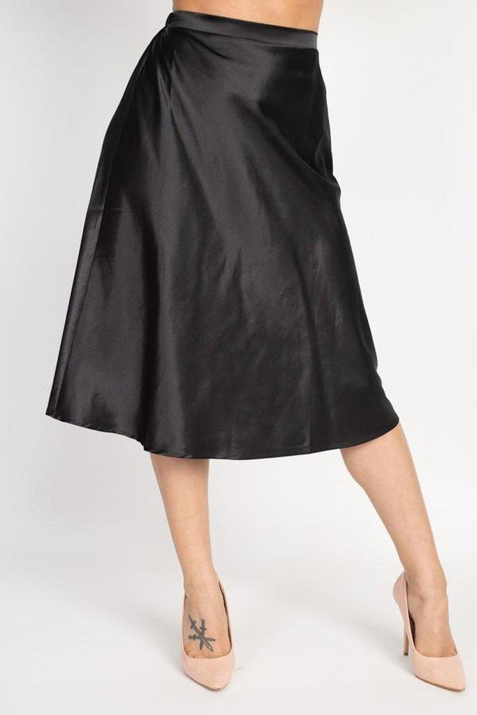 A-line Satin Midi Skirt in colors