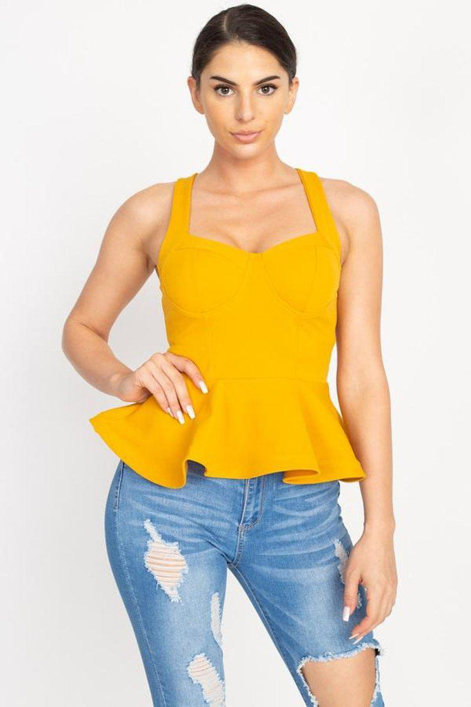 Sweetheart Bustier Peplum Top in yellow