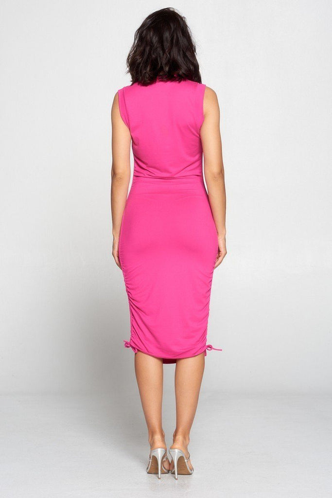 NATALIA turtleneck midi dress in fuchsia