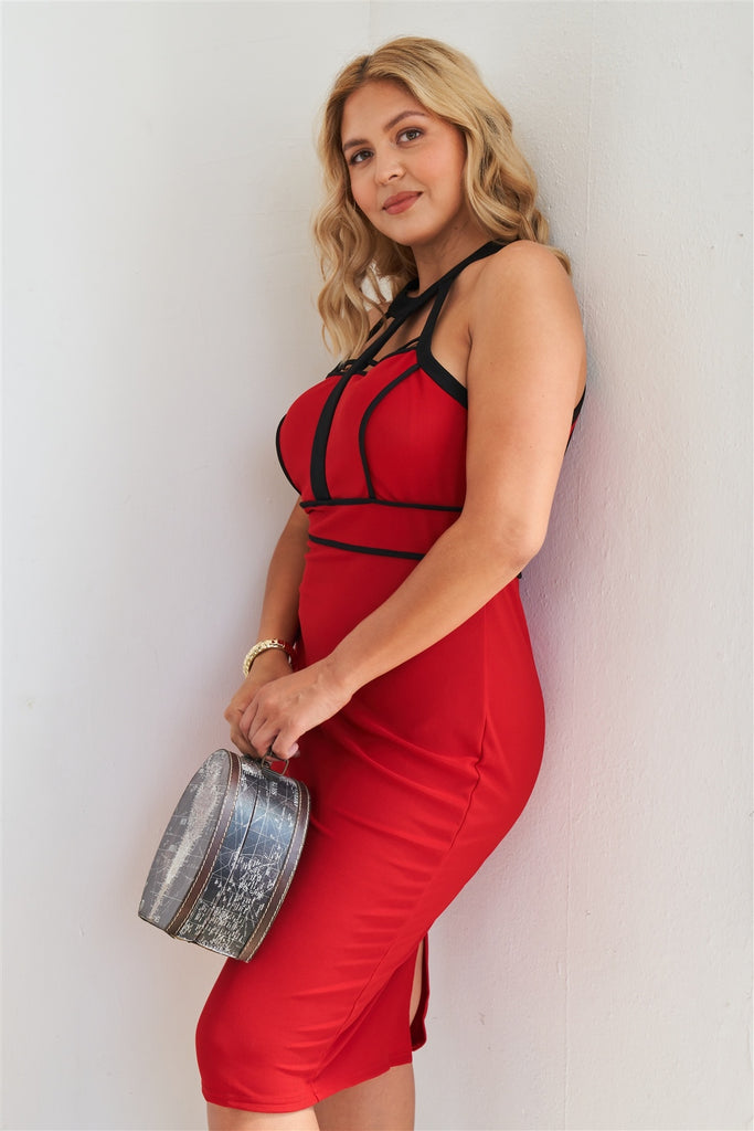 Size Barbados Cherry Cage Halter Neck Bodycon Midi Dress
