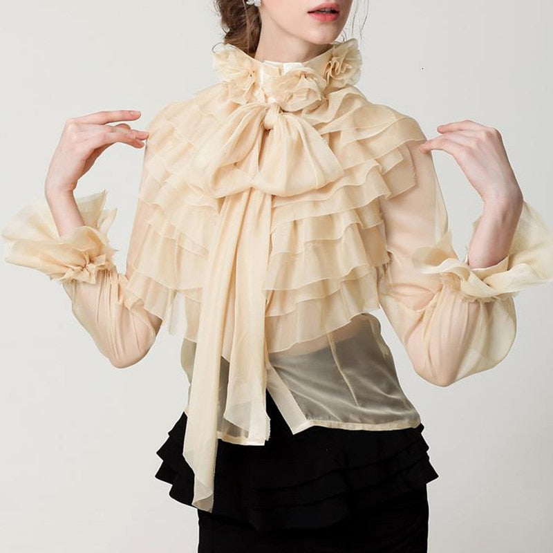 Ruffled bow mesh blouse in peach