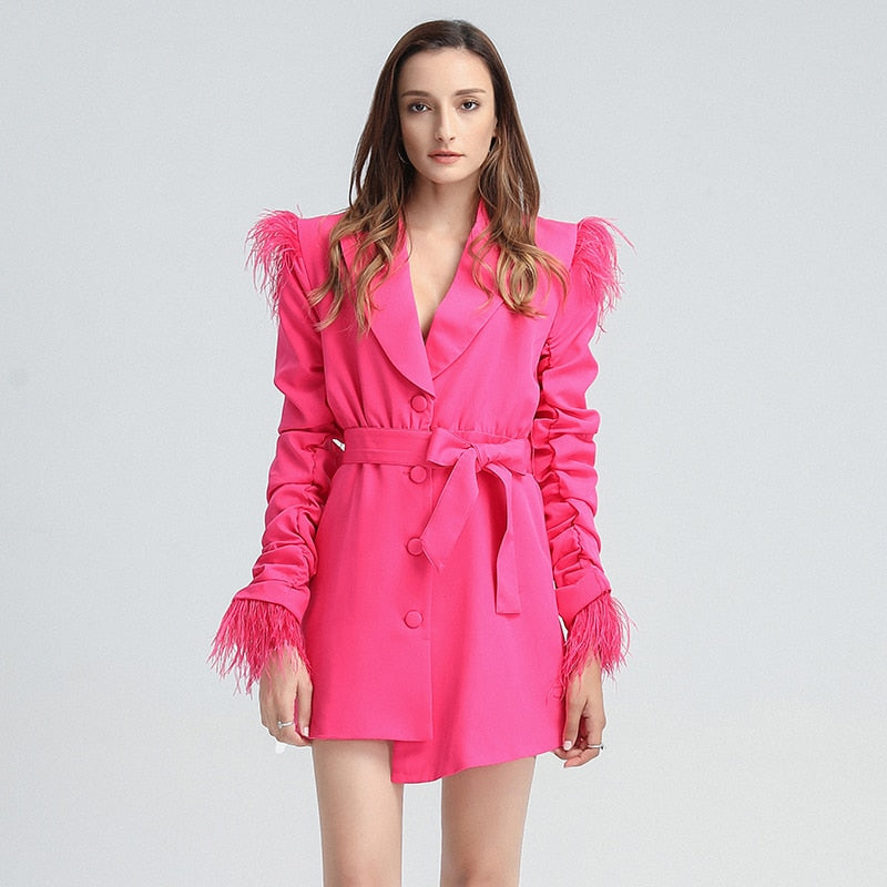 Feathered blazer dress with ruched sleeves in colors