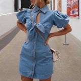 Bowknot short-sleeve denim dress