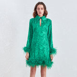 JAZZY feathers mini dress in green