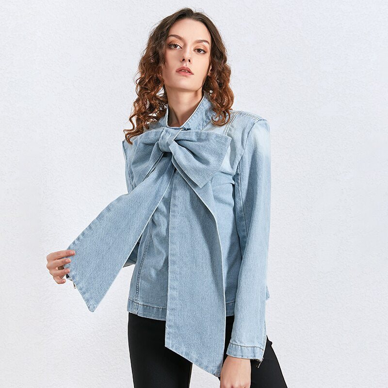 Bowknot denim blouse