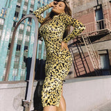 SERENA leopard print turtleneck midi dress