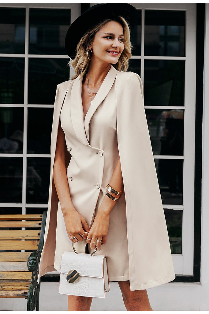 Double-breasted cloak blazer  mini dress in beige