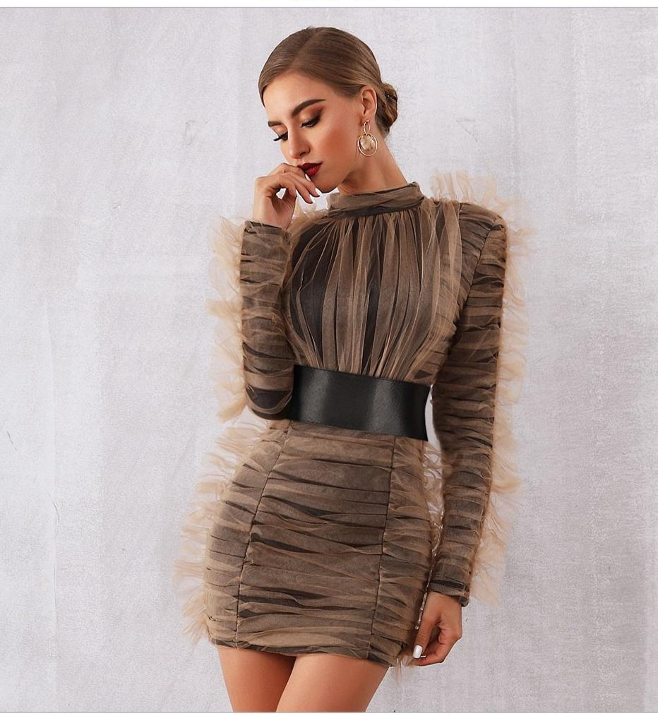 Georgina ruched mesh mini dress