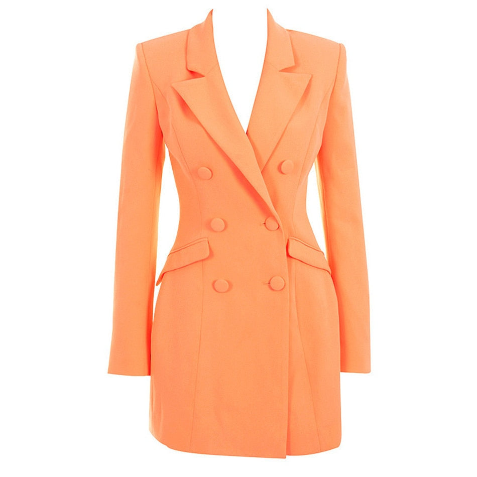 Double-breasted blazer dress in orange