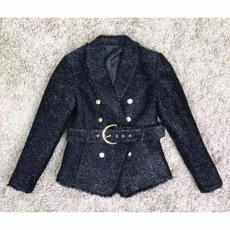 Double-breasted winter belted jacket