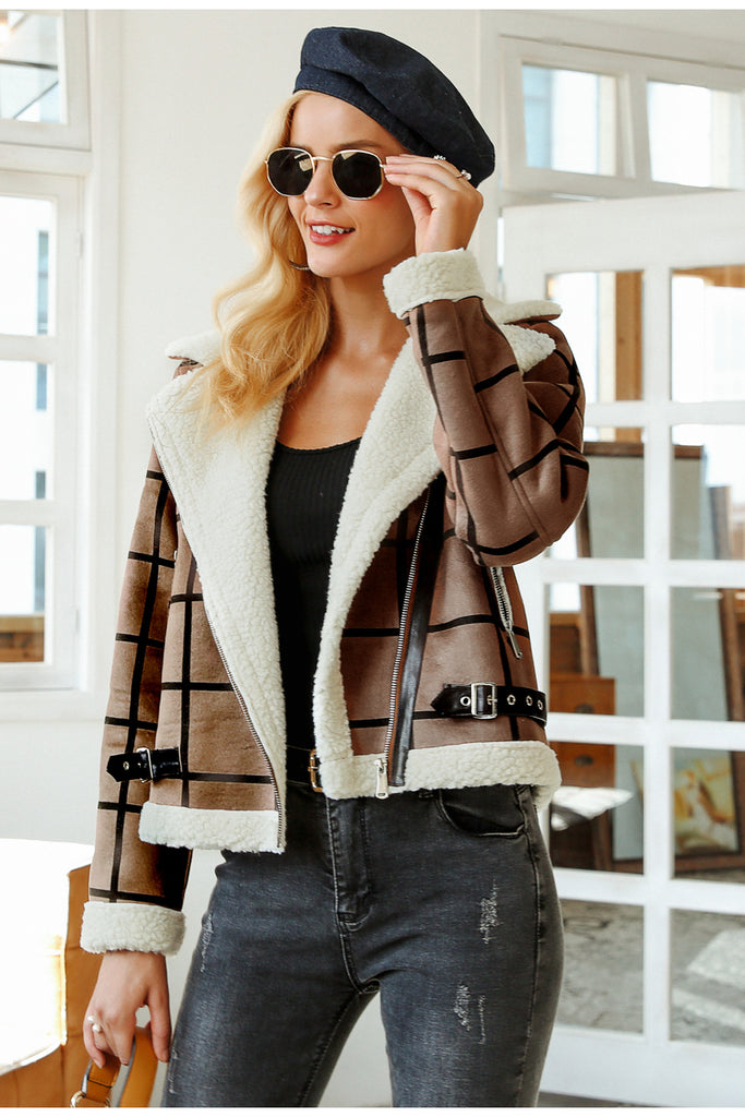 Eco fur and leather jacket in taupe