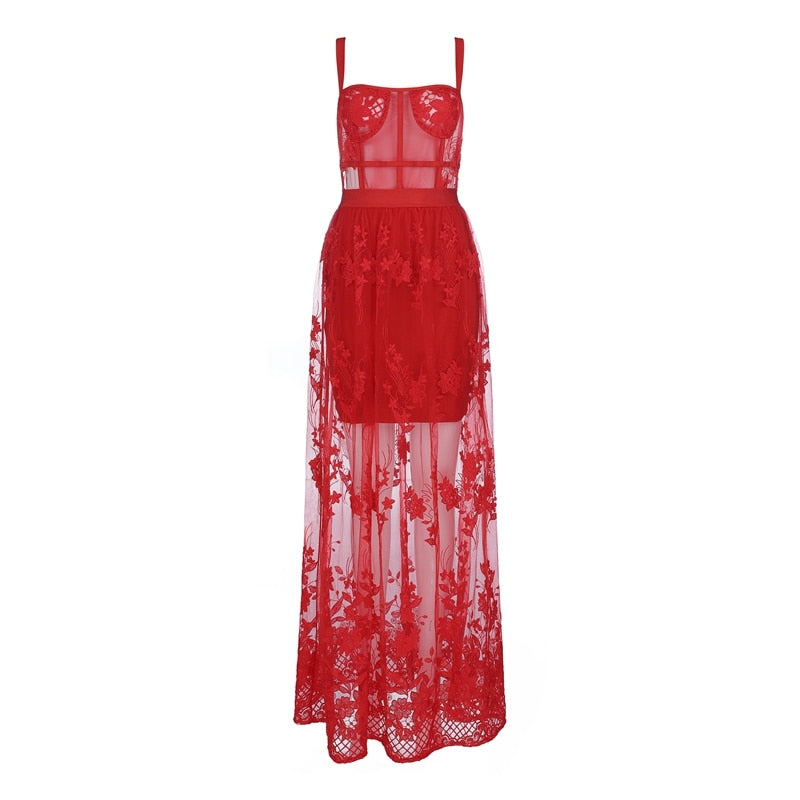 MONA mesh maxi dress in red