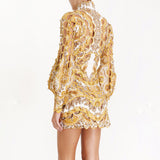 Hollow-out golden yellow mini dress