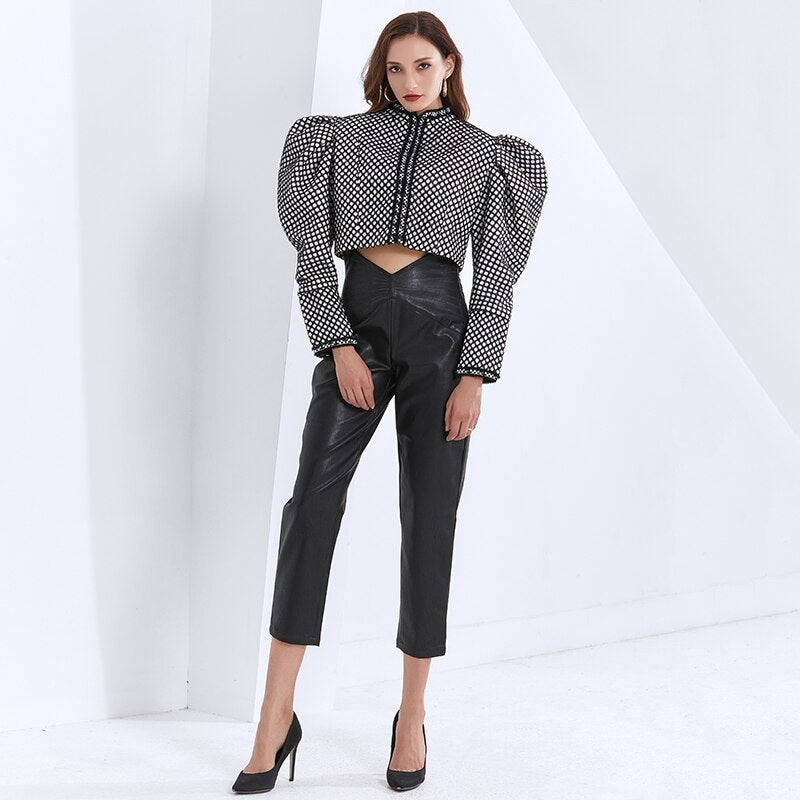 Puff-sleeve houndstooth short jacket