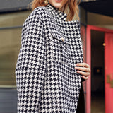 Patchwork houndstooth asymmetric coat