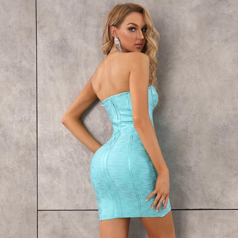 VERONICA turquoise bandage dress