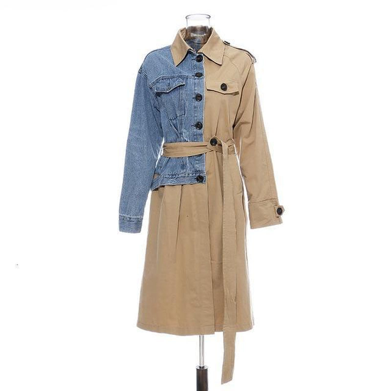 Asymmetrical denim patchwork trench coat