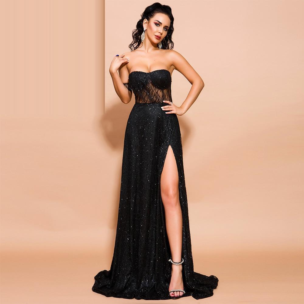 BLACK ORCHID off-shoulder slit gown