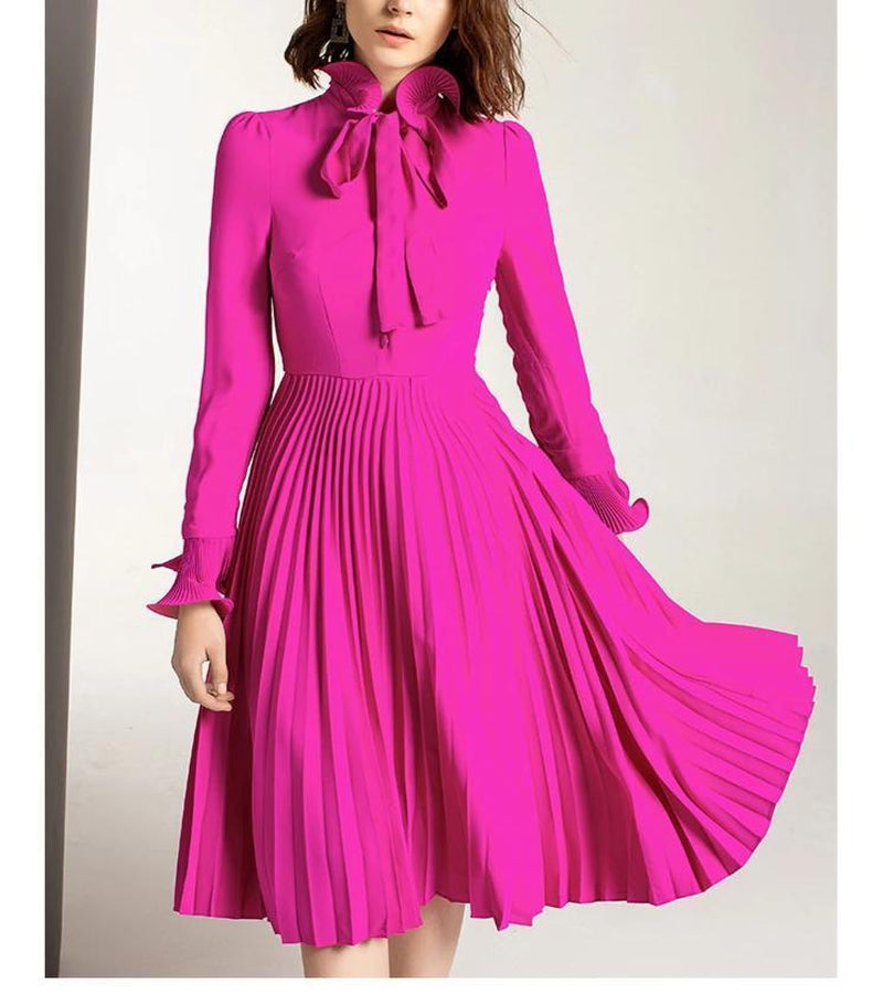 BELOVED CLEMENTINE pleated bowknot midi dress in fuchsia