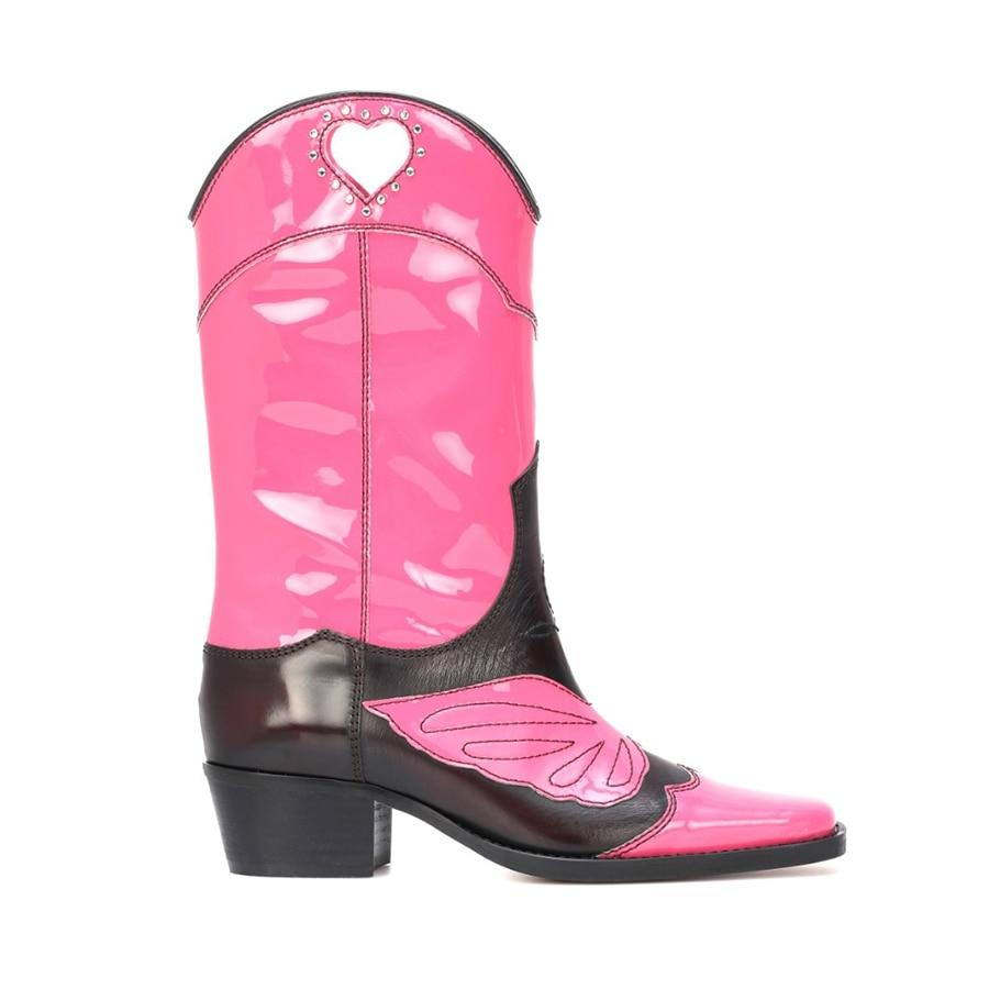 Cowgirl color-block boots in pink