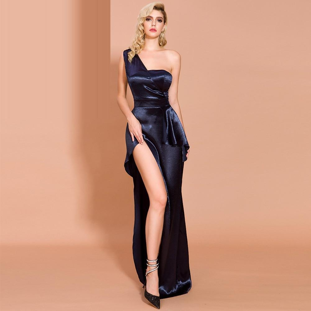 DEJA VU one-shoulder slit gown